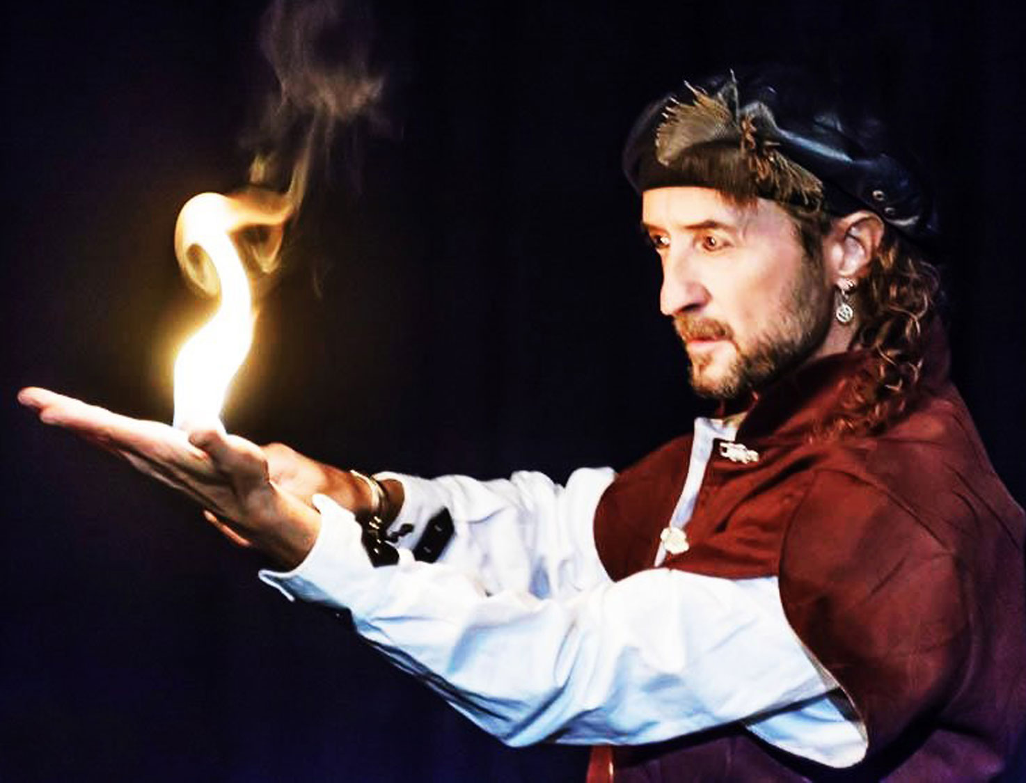 Example of a fire eating who with Loran, magician
